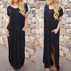 CHARLIZE solid boho dress - BLACK