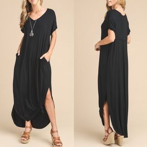 Bellanblue Dresses - CHARLIZE solid boho dress - BLACK