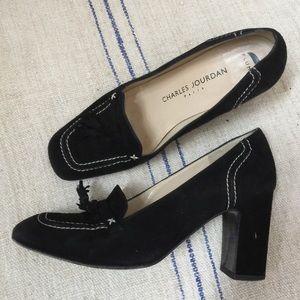 Charles Jourdan Shoes - CHARLES JOURDAN Black Suede Tassel Heels