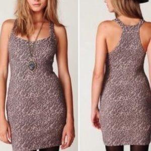 New Free People animal print mini dress L