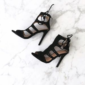 Style Link Miami Shoes - BLACK SIDE CUT OUT PEEP TOE HEELS