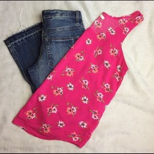 ☀️Old Navy • Hot Pink Floral Tank