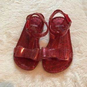 Gymboree Other - Gymboree little girl 5/6 glitter bow jelly sandals