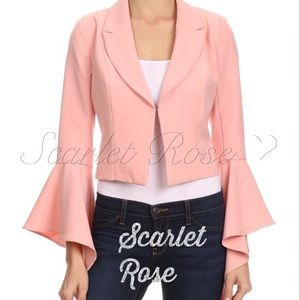 Scarlet Rose Boutique Jackets & Blazers - 🌹Fitted Blush Blazer w/Asymmetric Bell Sleeves🌹