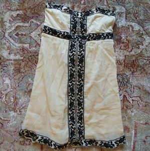 NWT. Cream with lace embroidered strapless dress