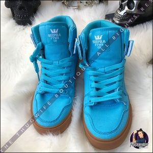 Supra Shoes - Teal blue high top Supra sneaker