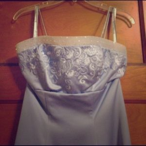 Periwinkle prom dress with wrap.