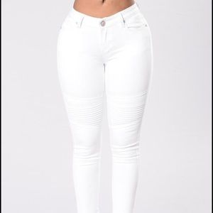 Mid Rise White Jeans