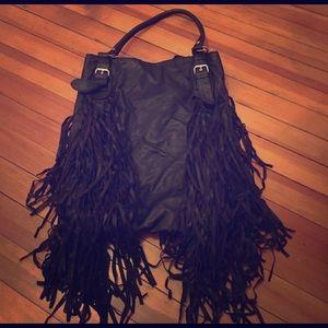 Topshop Fringe Black Bag