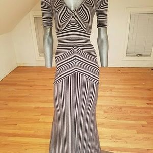 Heather Gardner Dresses & Skirts - Heather body con Maxi dress asymmetric striped