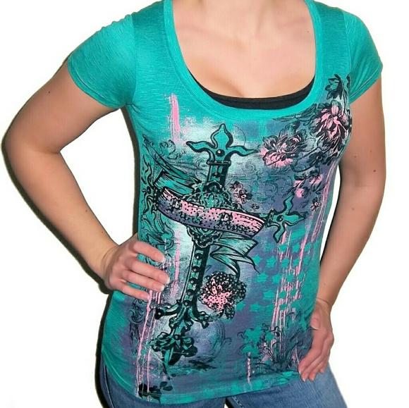 Daytrip Tops - New DAYTRIP Rhinestone Cross Top Shirt
