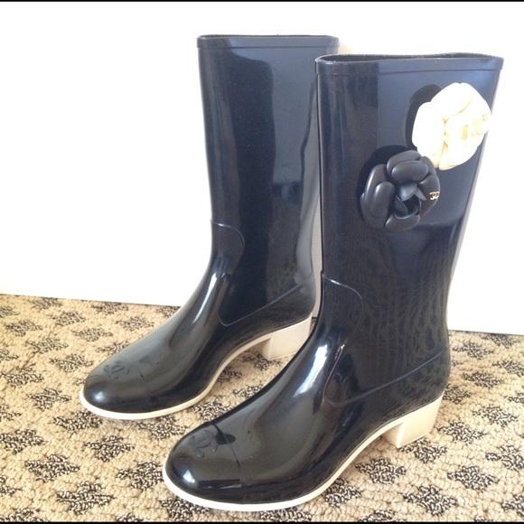 f3daa3e61 CHANEL Shoes | Camellia Black White Rain Boots Size 40 | Poshmark