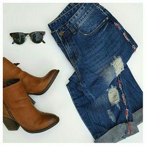 Sadie & Sage Denim - Sadie & Sage Embroidered Boyfriend Jeans