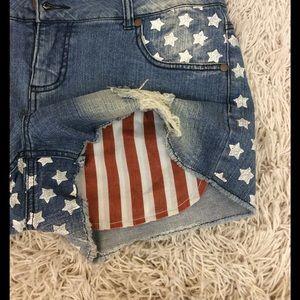 exhilaration Pants - Xhilaration American flag detail distressed shorts