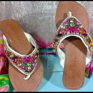 Callisto Shoes - 🏝CallistoOfCA✨Tellie BLING Gemstone Flat Thong👙