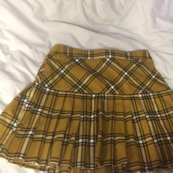 9e01bd9ae Forever 21 Dresses & Skirts - Mustard Plaid Pleated Skirt Forever ...