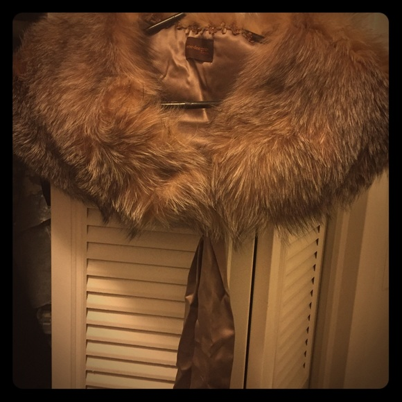 Accessories - Genuine Fox Fur Stole with Satin Ribbon