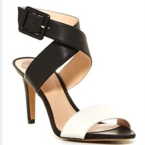 Vince Camuto Shoes - Vince Camuto Casara Black & White Leather Heels