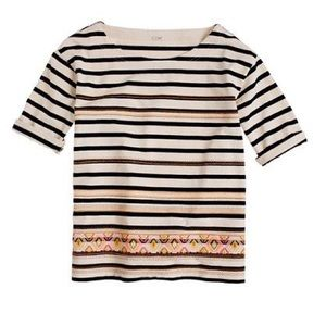 J. Crew Tops - J. Crew Striped Top with Neon Aztec Embroidery