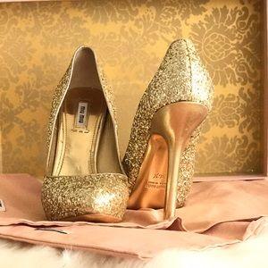 Miu Miu Shoes - Miu Miu Gold Glitter Pumps
