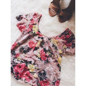 Poetry Tops - • Poetry • Blush Pink/Tan Floral Top
