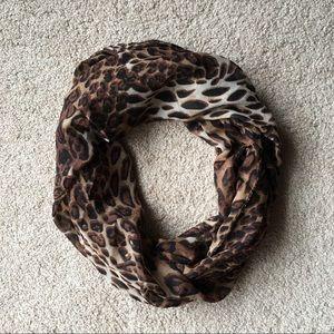 Accessories - NWOT Leopard Print soft chiffon infinity scarf