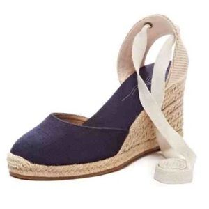 Soludos Shoes - Soludos Navy Wedge Ankle-Tie Espadrilles