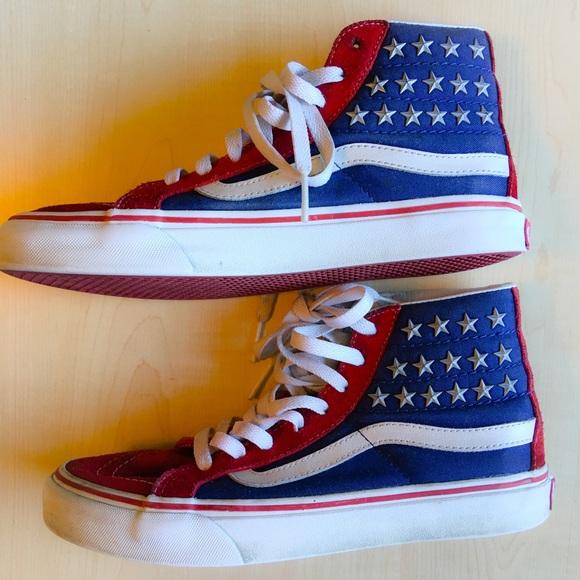 american flag vans high top