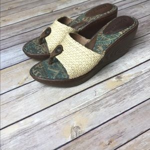 Born Shoes - Born Wicker Raffia Tapestry Wedge Thong Sandals