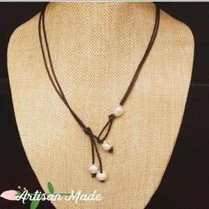 NEW Artisan Pearl Leather Necklace Boho