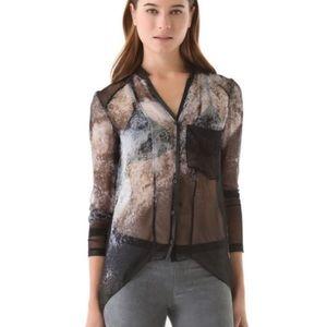 Helmut Lang Tops - Helmut Lang silk oxide print leather trimmed top