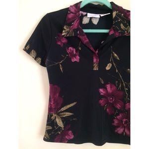 Vintage 90's Black Floral Collared Tee 