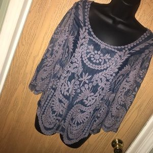 Mascara Tops - FINAL⬇Blue crochet lace top