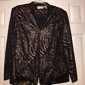 Alfred Dunner Jackets & Blazers - Alfred Dunner black and bronze print jacket sz 18W