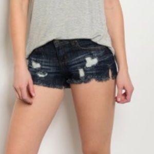 Distressed Dark Wash Denim Shorts,