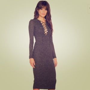 Bardot Dresses & Skirts - Romeo Lace up dress in black and gold