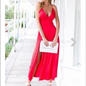 Dresses & Skirts - Red Low Cut Maxi Dress