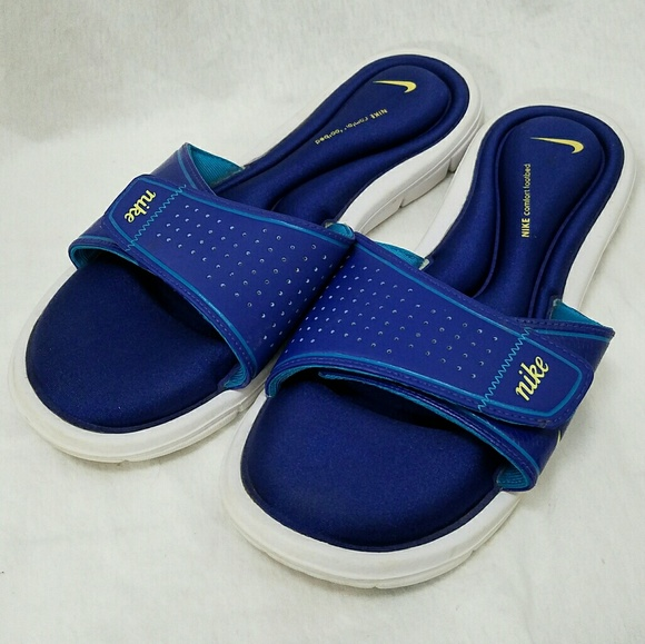 6871489ad197e9 NIKE Sz 12 Womens Royal Blue   Yellow Slide Sandal