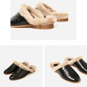 Leather fur mules
