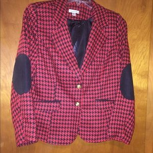 Joan Rivers Classic red Houndstooth Blazer size 14