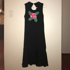 Black Sleeveless Knit Dress with Pink Flower