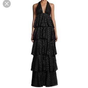 Jill Jill Stuart tiered silk metallic black dress
