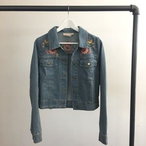 RGL Collection Jackets & Coats - Floral Embroidered Denim Jacket