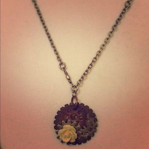 Jewelry - Handcrafted Steampunk Rose Gear Necklace
