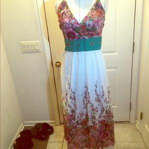 Fun & flirty flower print dress with jewel accents