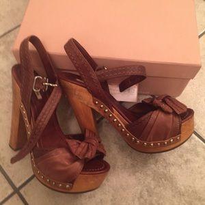 Miu Miu Shoes - Miu Miu Leather Bow Platform Heels