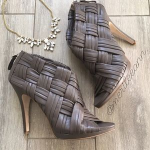 Boutique 9 Shoes - Boutique 9 Ankle Heel Peep Toe Leather Booties