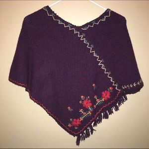 Vintage Free People embroidered floral poncho
