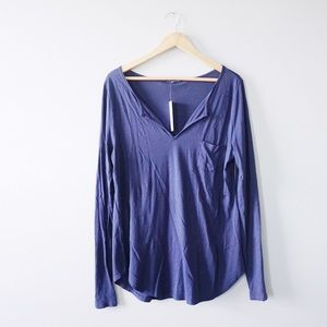 LAmade Tops - LAmade Navy Split Neck Tee