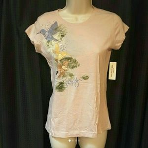 Roxy Tops - Roxy light pink hummingbird tee, small NWT